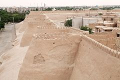 Uzbekistan. Itchan Kala wall, Khiva, Uzbekistan. Itchan Kala is the walled inner town of the city of Khiva. Since 1990 it has been protected as a World Heritage Royalty Free Stock Photography