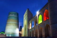 Uzbekistan. Khiva, night view of the Kalta Minor minaret at Muhammad Amin Khan Madrassah Royalty Free Stock Images