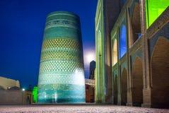 Uzbekistan. Khiva, night view of the Kalta Minor minaret at Muhammad Amin Khan Madrassah Royalty Free Stock Photography