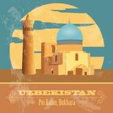 Uzbekistan landmarks. Retro styled image Stock Photos
