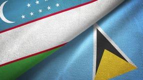 Uzbekistan Lucia i święty dwa flagi tekstylny płótno, tkaniny tekstura ilustracji