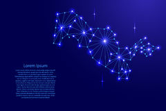 Uzbekistan map of polygonal mosaic lines network, rays, space stars of  illustration. Stock Image