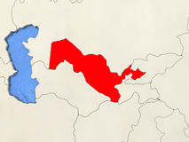 Uzbekistan on map Stock Photo