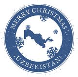 Uzbekistan map. Vintage Merry Christmas. Uzbekistan map. Vintage Merry Christmas Uzbekistan Stamp. Stylised rubber stamp with county map and Merry Christmas Royalty Free Stock Photo