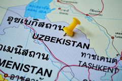 Uzbekistan mapa Zdjęcie Stock