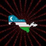 Uzbekistan mapy flaga na czerwonej hex kodu wybuchu ilustraci Fotografia Stock