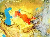 Uzbekistan na ziemi od przestrzeni ilustracja wektor
