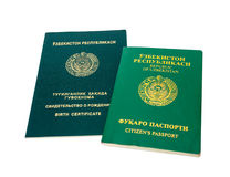 Uzbekistan passport and birth certificate Stock Images
