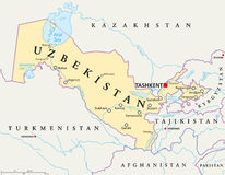 Uzbekistan Political Map Royalty Free Stock Image