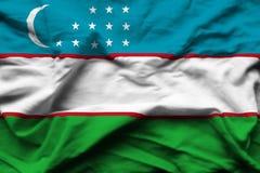 Uzbekistan realistisk flaggaillustration stock illustrationer