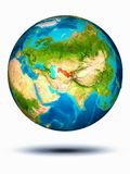Uzbekistan on Earth with white background. Uzbekistan in red on model of planet Earth hovering in space. 3D illustration isolated on white background. Elements stock photo