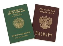 Uzbekistan and Russian passports Stock Photos