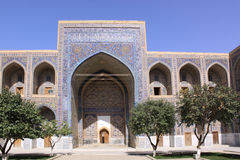 Uzbekistan Samarkand Veiw at Ulugh Beg Madrasahs. The most popular historical place in Uzbekistan - Registan squire with three madrasahs. Ulugh Beg and Tilya Royalty Free Stock Photos