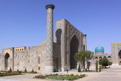 Uzbekistan Samarkand Veiw at Ulugh Beg and Tilya-Kori Madrasahs. The most popular historical place in Uzbekistan - Registan squire with three madrasahs. Ulugh Royalty Free Stock Photo