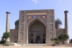 Uzbekistan Samarkand Veiw at Ulugh Beg and Tilya-Kori Madrasahs. The most popular historical place in Uzbekistan - Registan squire with three madrasahs. Ulugh stock photos