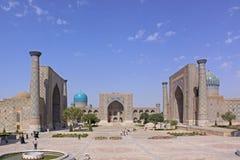 Uzbekistan Samarkand Veiw at Ulugh Beg and Tilya-Kori Madrasahs. The most popular historical place in Uzbekistan - Registan squire with three madrasahs. Ulugh stock photography