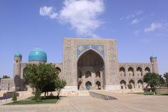 Uzbekistan Samarkand Veiw at Ulugh Beg and Tilya-Kori Madrasahs. The most popular historical place in Uzbekistan - Registan squire with three madrasahs. Ulugh stock image