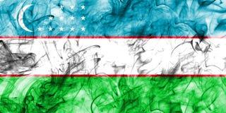 Uzbekistan smoke flag on a white background.  stock photo