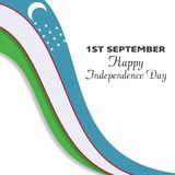 Uzbekistan 1st September Happy Independence Day isolated on whit. E background. For web design and application interface, also useful for infographics. Vector stock illustration