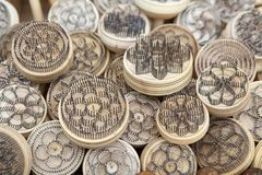 Uzbekistan. Stamps used to decorate the traditional uzbek tandoor bread for sale at the street market at the Itchan Kala, Khiva, Uzbekistan. Itchan Kala is the Royalty Free Stock Image