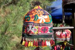 Uzbekistan. Traditional uzbek cap for The national headwear in many countries of Central Asia, including Uzbekistan is a tubeteika (skull-cap). Tubeteika is Stock Image
