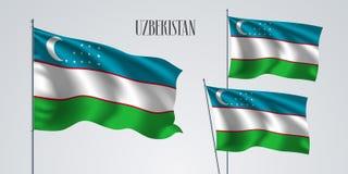 Uzbekistan vinkande flaggauppsättning av vektorillustrationen Arkivbilder