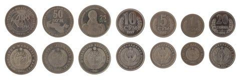 Uzbekistani Coins Isolated on White Stock Photo