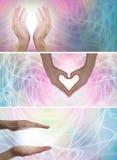 Uzdrawiający ręki x i światło 3 strona internetowa sztandaru zdjęcie royalty free