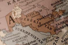 Uzebekistan. Detail on a globe of Uzbekistan Royalty Free Stock Images