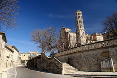 Uzes Cathedral. Beautiful Fenestrelle Tower, Saint-Theodorit Cathedral in Uzes in southern France Stock Photography