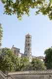 Uzes Cathedral. (Cathedrale Saint-Theodorit d'Uzes) is a former Roman Catholic cathedral located in the city of Uzes, a  southern French city, in the Languedoc Stock Photography