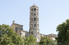 Uzes Cathedral. (Cathedrale Saint-Theodorit d'Uzes) is a former Roman Catholic cathedral located in the city of Uzes, a  southern French city, in the Languedoc Royalty Free Stock Photography