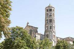 Uzes Cathedral. (Cathedrale Saint-Theodorit d'Uzes) is a former Roman Catholic cathedral located in the city of Uzes, a  southern French city, in the Languedoc Royalty Free Stock Image