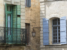 Uzes (France). Uzes (Gard, Languedoc-Roussillon, France) - Old typical houses Stock Photo