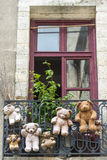 Uzes (France), hanged teddy bears Royalty Free Stock Photography
