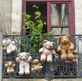Uzes (France), hanged teddy bears Royalty Free Stock Image