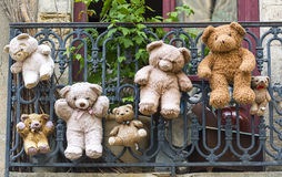 Uzes (France), hanged teddy bears Royalty Free Stock Images