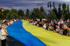 In Uzhgorod celebrated the Day of the State Flag of Ukraine. Uzhgorod, Ukraine - August 23. 2016: The participants of the celebrations of the Day of State Flag stock photography