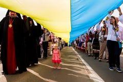 In Uzhgorod celebrated the Day of the State Flag of Ukraine. Uzhgorod, Ukraine - August 23. 2016: The participants of the celebrations of the Day of State Flag royalty free stock photography