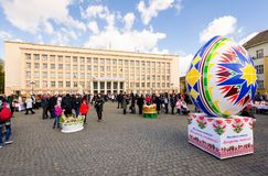 Celebrating Orthodox Easter in Uzhgorod. Uzhgorod, Ukraine - April 07, 2017: Celebrating Orthodox Easter in Uzhgorod on the Narodna square. Huge egg and basket Royalty Free Stock Photography