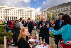 Celebrating Orthodox Easter in Uzhgorod. Uzhgorod, Ukraine - April 07, 2017: Celebrating Orthodox Easter in Uzhgorod on the Narodna square. Hennadiy Moskal, the Stock Image