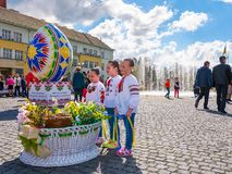 Celebrating Orthodox Easter in Uzhgorod. Uzhgorod, Ukraine - April 07, 2017: Celebrating Orthodox Easter in Uzhgorod on the Narodna square. Huge egg near the Royalty Free Stock Images