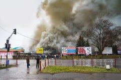 UZHGOROD,UKRAINE -  FEBRUARY 01, 2016: Fire and strong smoke cov Royalty Free Stock Images