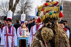 Eighth Ethnic Festival Christmas Carols in the old village. Uzhgorod, Ukraine - January 13, 2018: Children`s folklore collective performs during the eighth royalty free stock photography
