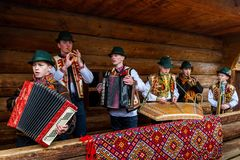 Eighth Ethnic Festival Christmas Carols in the old village. Uzhgorod, Ukraine - January 13, 2018: Children`s folklore collective performs during the eighth stock photography