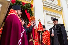 Cross march marking the Veneration of the Cross Sunday in Uzhgor Stock Photography