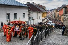 Cross march marking the Veneration of the Cross Sunday in Uzhgor Royalty Free Stock Image