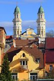 Uzhgorod, Ukraine, View of the city and the Greek Catholic Cathedral in the background. Popular tourist attraction. Bright sunny day and blue sky with small stock photo