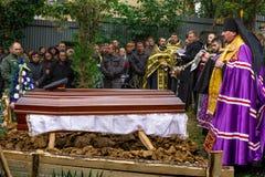 In Uzhhorod-afscheid aan militair die aan wonden in de ATO-streek stierf Stock Foto