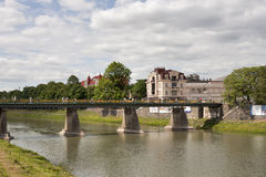 Uzhhorod bridge Royalty Free Stock Image